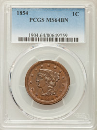 1854 1C MS64 Brown PCGS. PCGS Population (136/57). NGC Census: (115/110). Mintage: 4,236,156. CDN Wsl. Price for problem...