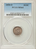 Seated Half Dimes: , 1858-O H10C MS64 PCGS. PCGS Population (58/23). NGC Census: (72/27). Mintage: 1,660,000. CDN Wsl. Price for problem free NG...