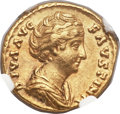 Ancients:Roman Imperial, Ancients: Diva Faustina Senior, deified wife of Antoninus Pius(died AD 140/1). AV aureus (19mm, 7.37 gm, 12h)....