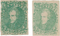 Miscellaneous:Ephemera, Two Confederate Green General Issue 2-cent Stamps....