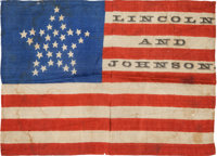 Abraham Lincoln: Unique 1864 Silk Parade Flag