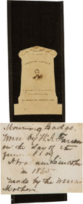 Political:Ribbons & Badges, Abraham Lincoln: An Exceptional Lincoln Mourning Badge....