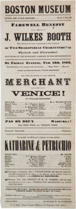 Miscellaneous:Ephemera, John Wilkes Booth: 1863 Boston Museum Playbill for Merchant of Venice and Katharine and Petruchio....