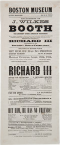 Miscellaneous:Ephemera, John Wilkes Booth: 1864 Boston Museum Playbill for Richard III....