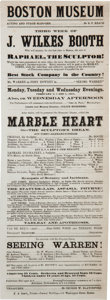 Miscellaneous:Ephemera, John Wilkes Booth: 1863 Boston Museum Playbill....