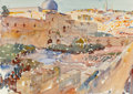 Mainstream Illustration, Dean Cornwell (American, 1892-1960). Jerusalem from Mount ofOlives. Watercolor and pencil on paper. 9 x 12.5 in. (sight...
