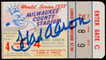 Baseball Collectibles:Tickets, 1957 Hank Aaron Signed World Series Ticket Stub....
