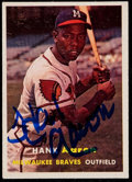 Baseball Cards:Autographs, 1957 Hank Aaron Signed Topps Card....