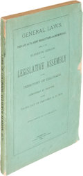 Books:Americana & American History, [Colorado]. General Laws, Private Acts, Joint Resolutions andMemorials... Denver: 1876. First edition....