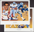 Football Collectibles:Others, Dorsett and Pearson Signed Lithographs (2)....