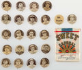 Baseball Cards:Lots, 1909-12 P2 Sweet Caporal Baseball Pins (21) Plus Unopened Pack. ...