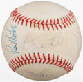 Baseball Collectibles:Tickets, Nolan Ryan and Misc. Houston Astros Stars Multi-Signed Baseball....