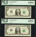 Error Notes:Miscellaneous Errors, Fr. 1907-K $1 1969D Federal Reserve Notes. Two Consecutive Examples. PCGS Very Choice New 64PPQ.. ... (Total: 2 notes)