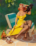 Pin-up and Glamour Art, Gil Elvgren (American, 1914-1980). Hold Everything (MakingFriends; Puppy Love), Brown and Bigelow calendarillustration...