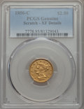 1856-C $2 1/2 -- Scratch -- PCGS Genuine. XF Details. Variety 1....(PCGS# 7778)