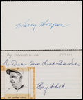 Baseball Collectibles:Others, Hooper and Schalk Signed Index Cards (2)....