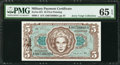Military Payment Certificates:Series 651, Series 651 $5 PMG Gem Uncirculated 65 EPQ.. ...
