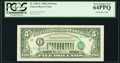 Error Notes:Third Printing on Reverse, Fr. 1980-L $5 1988A Federal Reserve Note. PCGS Very Choice New 64PPQ.. ...
