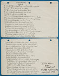 "Books:Literature 1900-up, Robert Frost. ""A Considerable Speck."" Circa 1939. AutographManuscript Fair Copy, inscribed by Frost: ""To Fred Adams / f..."