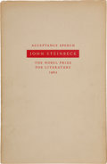 Books:Literature 1900-up, John Steinbeck. Speech Accepting the Nobel Prize forLiterature. New York: Viking Press, 1962. First edition. On...