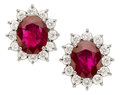 Estate Jewelry:Earrings, Burma Ruby, Diamond, White Gold Earrings. ...