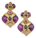 Estate Jewelry:Earrings, Diamond, Amethyst, Peridot, Gold Earrings. ... (Total: 2 Items)