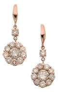 Estate Jewelry:Earrings, Diamond, Pink Gold Earrings. ... (Total: 2 Items)