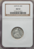 Twenty Cent Pieces, 1875-CC 20C AU53 NGC. BF-4, R.2....