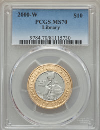 2000-W $10 Library of Congress Bimetallic Ten Dollar MS70 PCGS....(PCGS# 9784)
