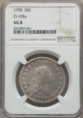 Early Half Dollars, 1795 50C 2 Leaves, O-105a, T-25, R.4, VG8 NGC....