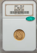 Liberty Quarter Eagles, 1861 $2 1/2 New Reverse, Type Two, MS63 NGC. CAC....