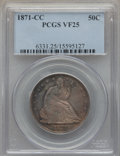 Seated Half Dollars, 1871-CC 50C WB-101, Die Pair 1, R.4, VF25 PCGS. ...