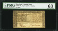 Colonial Notes:Maryland, Maryland April 10, 1774 $6 PMG Choice Uncirculated 63.. ...