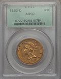 1893-O $10 AU50 PCGS. PCGS Population (11/455). NGC Census: (6/415). Mintage: 17,000. CDN Wsl. Price for problem free NG...
