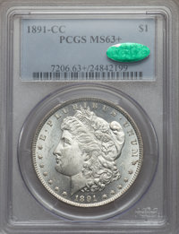 1891-CC $1 MS63+ PCGS. CAC. PCGS Population (5270/4130 and 74/179+). NGC Census: (1654/1302 and 17/25+). Mintage: 1,618...