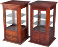 Furniture : American, A Pair of Glazed Pine Display Cabinets, late 19th/early 20thcentury. 32-3/4 h x 18-1/4 w x 18 d inches (83.2 x 46.4 x 45.7 ...(Total: 2 Items)
