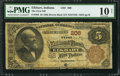 National Bank Notes:Indiana, Elkhart, IN - $5 1882 Brown Back Fr. 466 The First NB Ch. # 206. ...