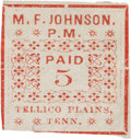Miscellaneous:Ephemera, Confederate-era Postage Stamp: Tellico Plains, Tennessee....