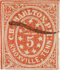 Miscellaneous:Ephemera, Confederate-Era Postage Stamp from Knoxville, Tennessee....