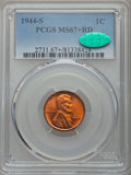 1944-S 1C MS67+ Red PCGS. CAC. PCGS Population (371/0 and 2/0+). NGC Census: (1387/0 and 4/0+). Mintage: 282,760,000...