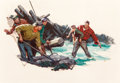 Mainstream Illustration, Tom Lovell (American, 1909-1997). Lumberjack Rescue, probablemagazine interior illustration, 1938. Oil on canvas. 27 x ...