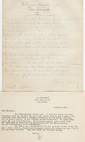 Books:Literature 1900-up, [George Sterling, H. L. Mencken]. Small Collection of SignedManuscript Material. [circa 1910]. One manuscript and three let...