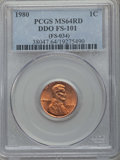 Lincoln Cents, 1980 1C Doubled Die Obverse, FS-101, MS64 Red PCGS. (FS-034). PCGS Population (10/4). NGC Census: (17/9)....