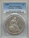 Seated Dollars: , 1845 $1 -- Cleaning -- PCGS Genuine. AU. NGC Census: (12/109). PCGS Population (48/93). Mintage: 24,500. CDN Wsl. Price for...