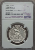 Seated Half Dollars: , 1849-O 50C -- Improperly Cleaned -- NGC Details. AU. NGC Census: (4/53). PCGS Population (13/63). Mintage: 2,310,000. CDN W...