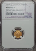 Gold Dollars, 1849-C G$1 Closed Wreath -- Improperly Cleaned -- NGC Details. XF. NGC Census: (1/97). PCGS Population (16/87). Mintage: 11...