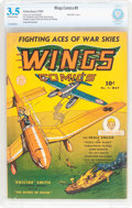Golden Age (1938-1955):War, Wings Comics #9 (Fiction House, 1941) CBCS VG- 3.5 Off-white towhite pages....