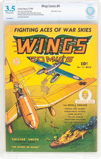 Wings Comics #9 (Fiction House, 1941) CBCS VG- 3.5 Off-white to white pages