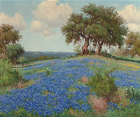 Porfirio Salinas (American, 1910-1973) Twin Oaks with Bluebonnets Oil on canvas 25 x 30 inches (6