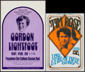 Movie Posters:Rock and Roll, Gordon Lightfoot at the Pasadena City College Sexson Auditorium& Other Lot (Concert Associates, 1970s). Concert Window Card...(Total: 2 Items)